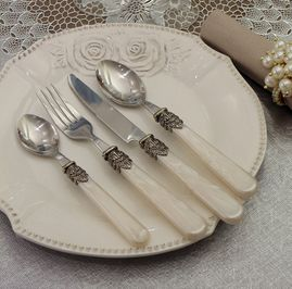 Set 24 posate Madreperla Avorio Vintage shabby chic Angelica Home & Country